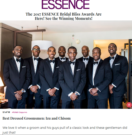 Fotos by Fola Wins Essence 2017 Bridal Bliss Award Winner for Best Dressed Groomsmen