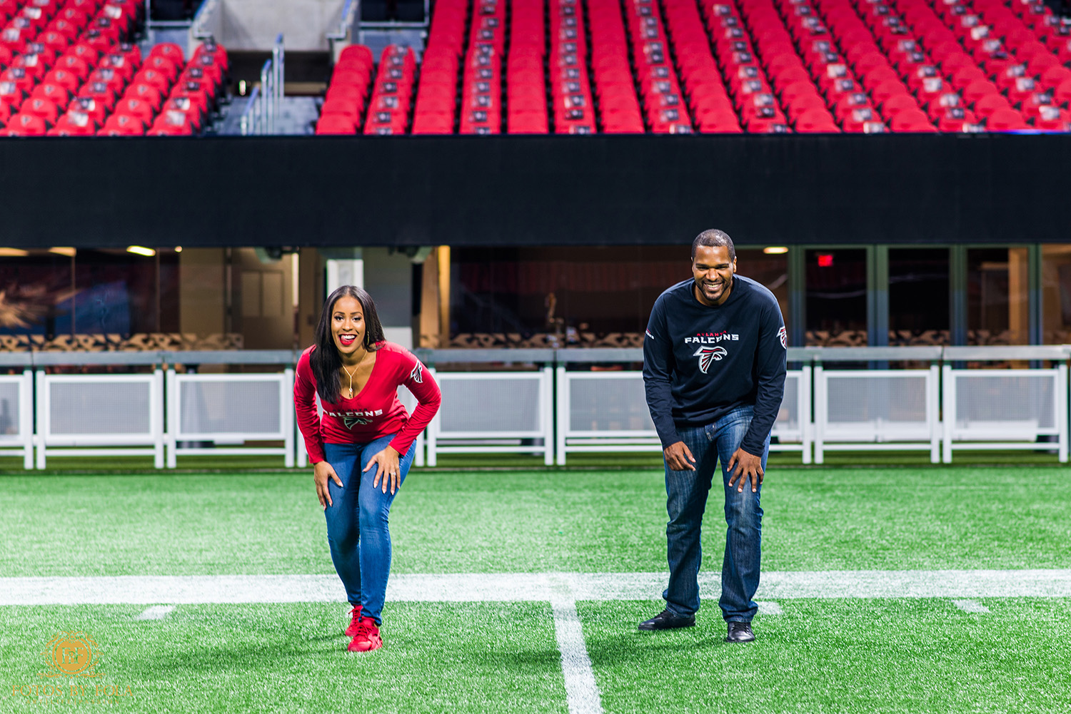Fotos by Fola | Mercedes Benz Stadium | Atlanta Falcons | Engagement Shoot | Atlanta Wedding Photographer