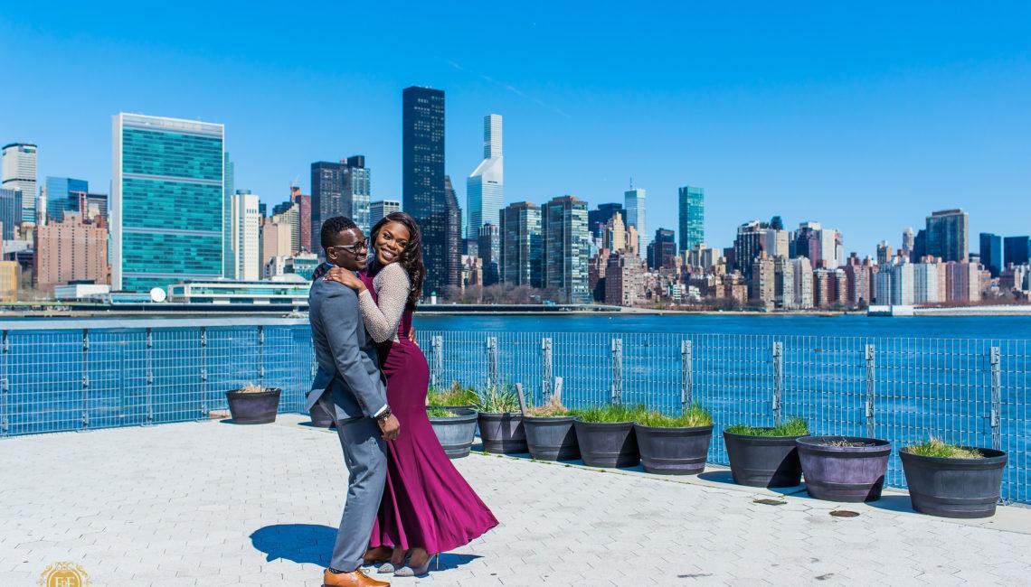 Fotos by Fola | New York City Engagement Shoot | Gantry Plaza Park | Manhattan | Brooklyn | Dumbo New York | New York Wedding Photographer